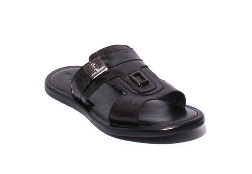 Black Leather / Stamped Leather Men Sandals