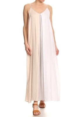 Twill Colorblock Maxi Dress