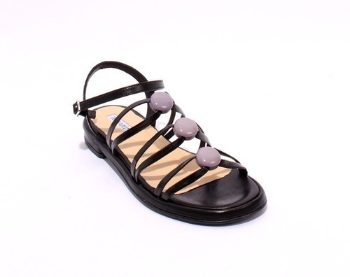 Black / Taupe Leather Comfort Strappy Flats Sandals