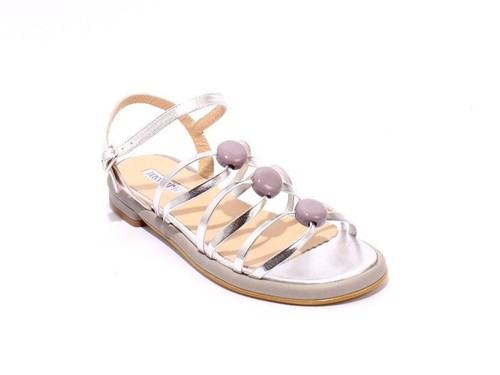 Silver / Gray / Taupe Leather Comfort Strappy Sandals