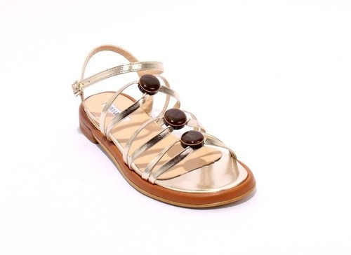 Gold / Brown Leather Comfort Strappy Flats Sandals
