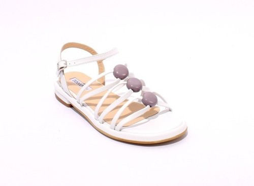 White / Taupe Leather Comfort Strappy Flats Sandals