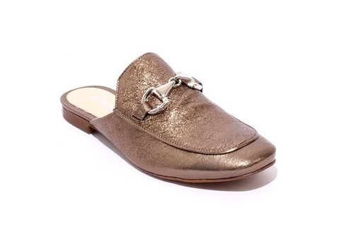 Pewter Buckle Leather Sandals Shoes Mules