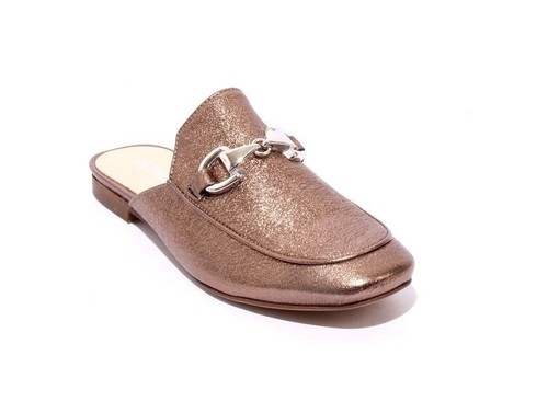 Pewter / Silver Buckle Leather Sandals Mules
