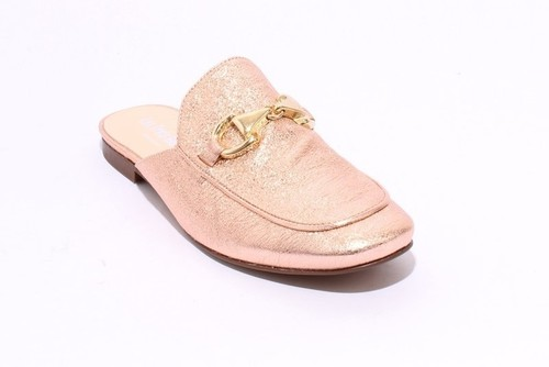 Rose / Gold Buckle Leather Sandals Mules