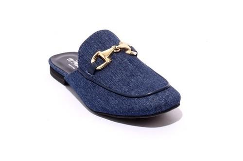 Blue / Gold Buckle Jeans Sandals Mules
