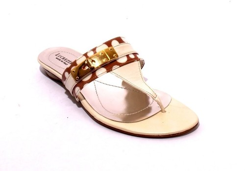 Cream / Brown Patent Leather Thong Flats Sandals