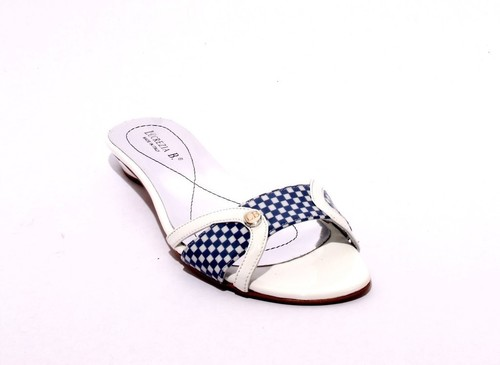 White / Navy Patent Leather Side Cutouts Slides Sandals