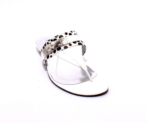 White / Black Patent Leather Thong Flats Buckle Sandals