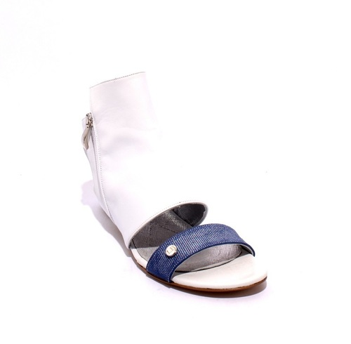 White / Navy Leather / Suede Zip-Up Gladiator Flats Sandals