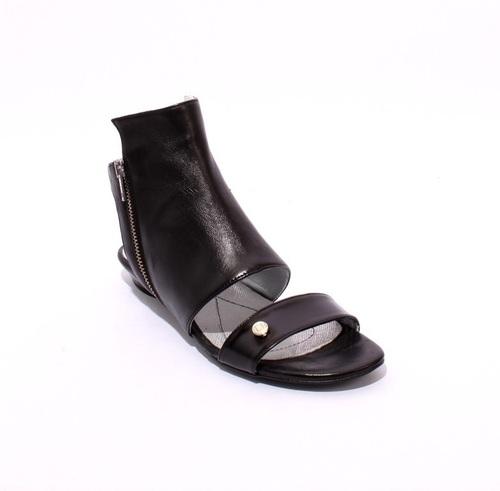 Black Leather Zip-Up Gladiator Flats Sandals