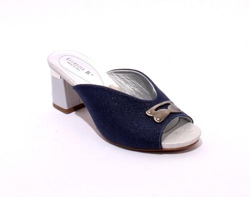 Navy / Gray Suede / Leather Slides Heels Sandals