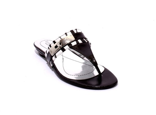 Black / White Leather Thong Flats Buckle Sandals