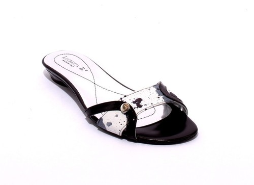 White / Black / Gray Leather Cutouts Slide Sandals