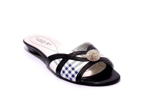 White / Navy Leather Slides Sandals