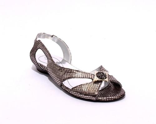 Silver / Black Stamped Soft Leather Slingbacks Sandals