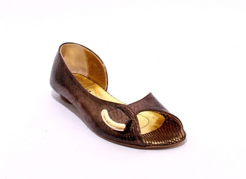 Bronze / Black Stamped Leather Open Toe Flats Shoes