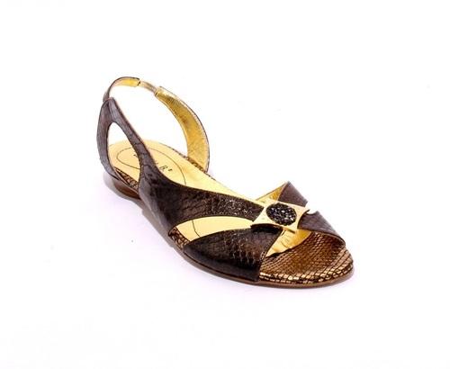 Bronze / Black Stamped Soft Leather Slingbacks Sandals