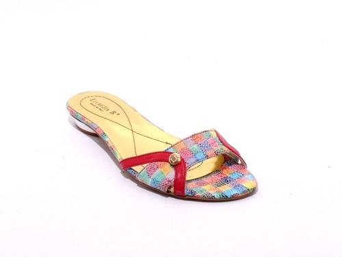 Multi-Color Leather Side Cutouts Slides Sandals