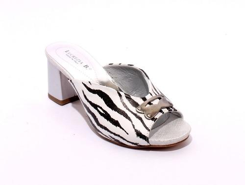 White / Black / Gray Leather Slides Heels Sandals