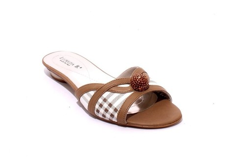White / Brown Leather Slides Sandals