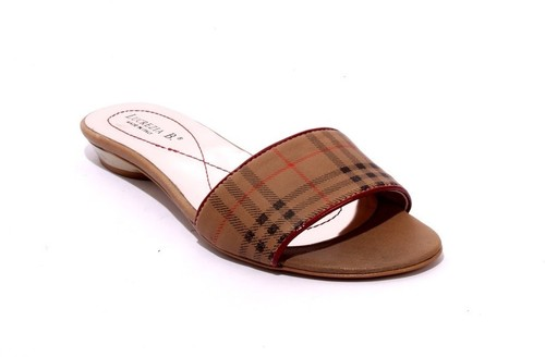 Brown / Black / Red Leather Slides Sandals