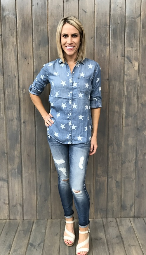 Bright Star Denim Button Down