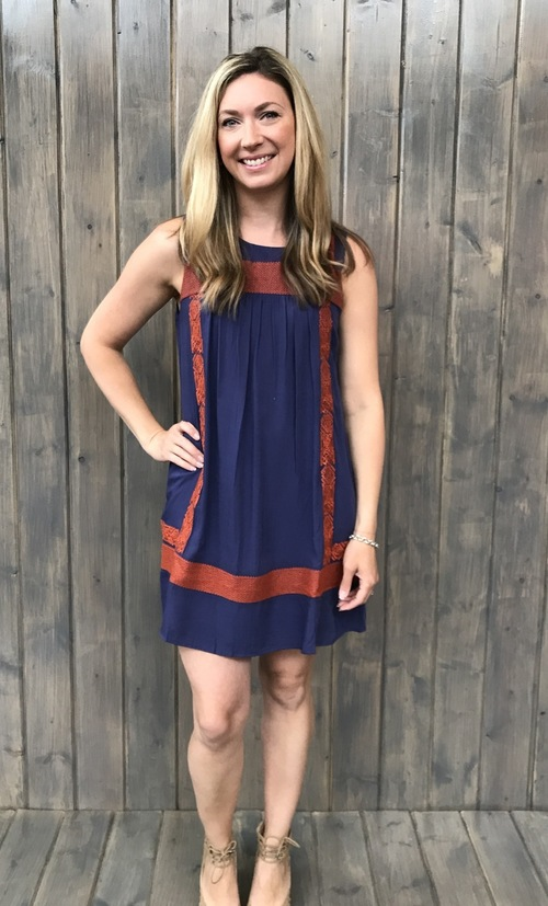 Cross Stitch Embroidered Shift Dress