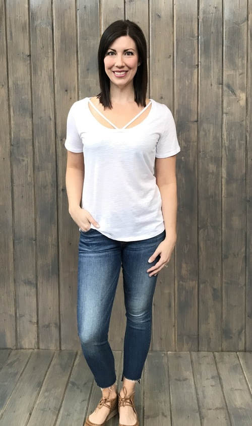 Round Neck Strappy White Top