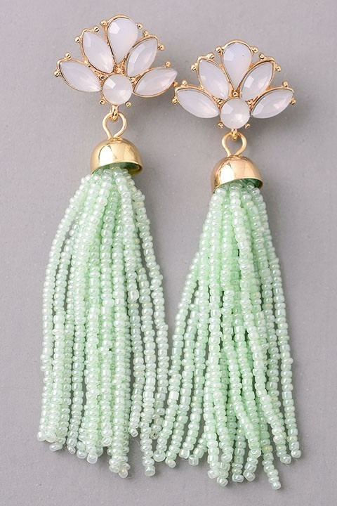 Gatsby beaded earrings (Mint)