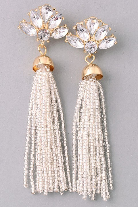 Gatsby beaded earrings (Silver)