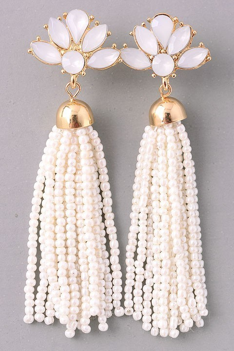 Gatsby beaded earrings (White)