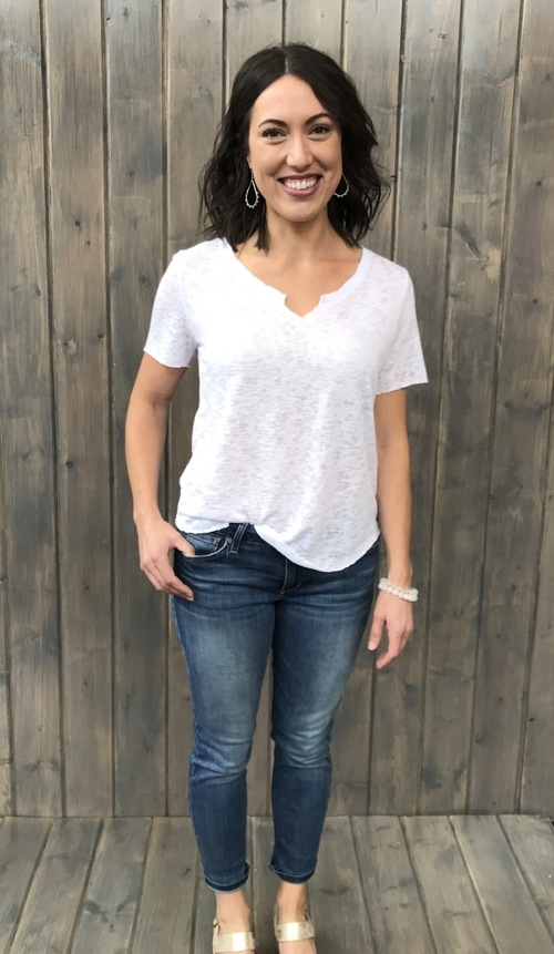 Suzie Shirtail Tee White