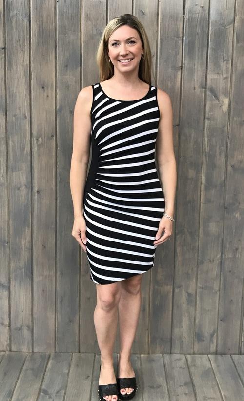 Pleated Faux Wrap Black White Dress