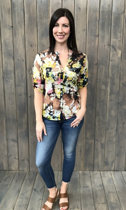 Staci Yellow Floral Button Down