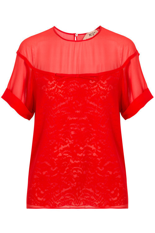 Short Sleeve Silk and Lace Blouse