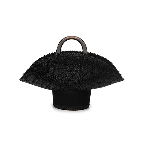 "Flavia Textured Straw ""Upside Down Hat"" Bag with Black Wood Handles"