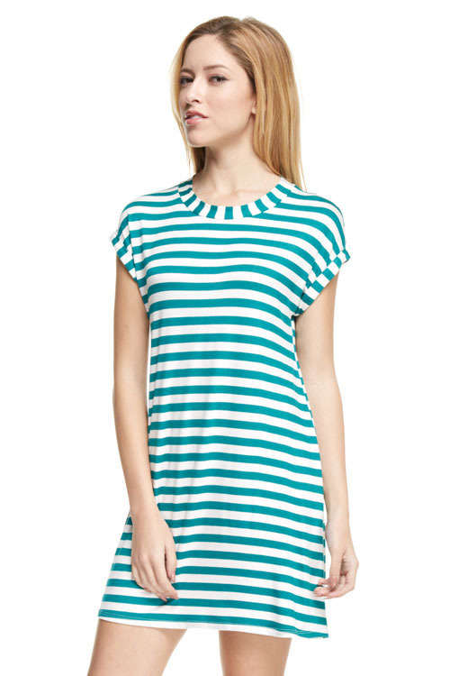 Heather striped tunic dress (Green)