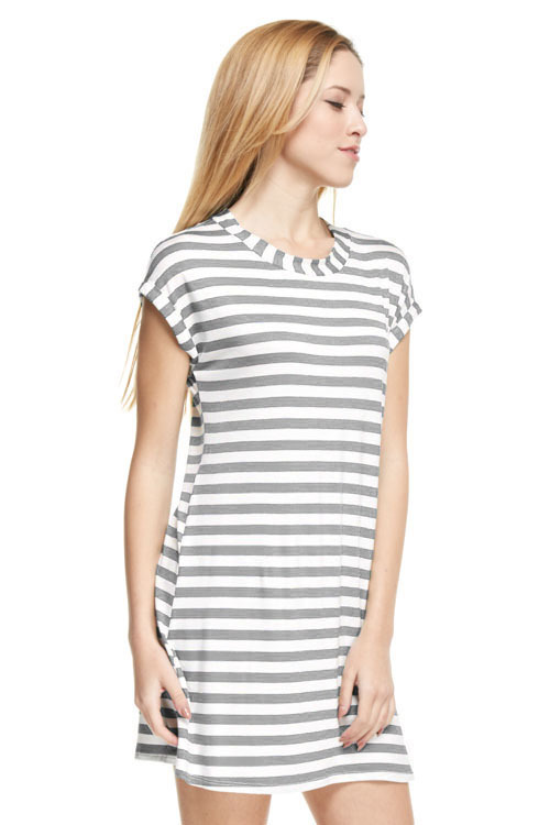 Heather striped tunic dress (Grey)