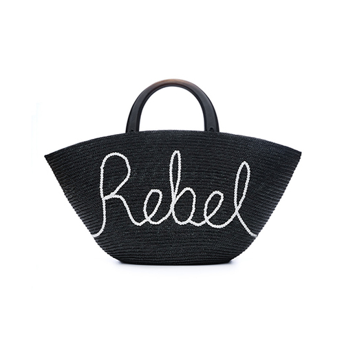 "Carlotta Straw Bag with White Sequin ""Rebel"" and Black Wood Handles"