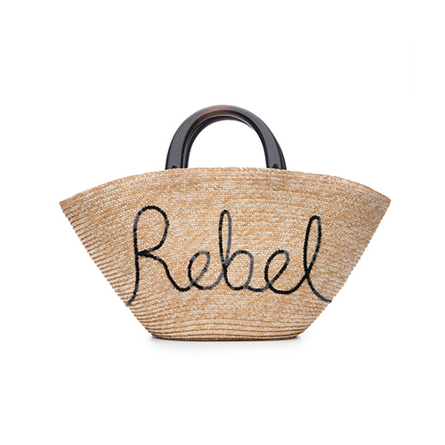 "Carlotta Straw Bag with Black Sequin ""Rebel"" and Black Wood Handles"