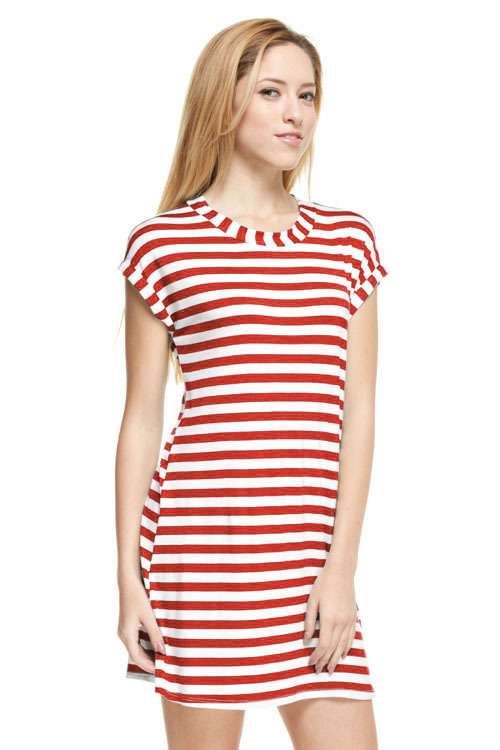 Heather striped tunic dress (Red)