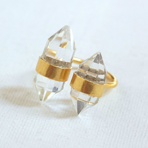 Double Crystal Gold Ring