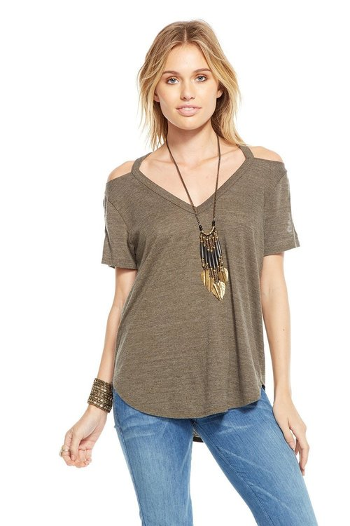 Double Cold Shoulder V Neck Military Tee