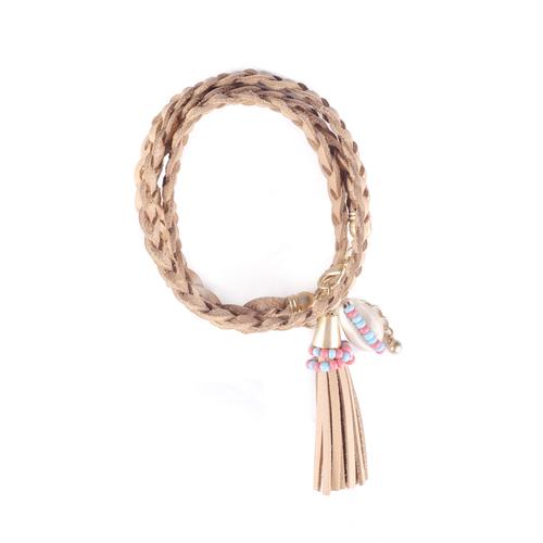 Tan Braided Shell Tassel Bracelet