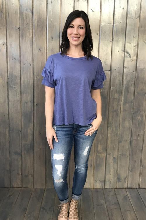 Ruffle Sleeve Dusty Purple Top