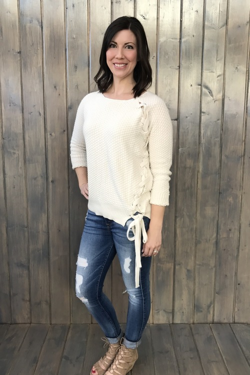 Side Lace Up Sweater Ivory