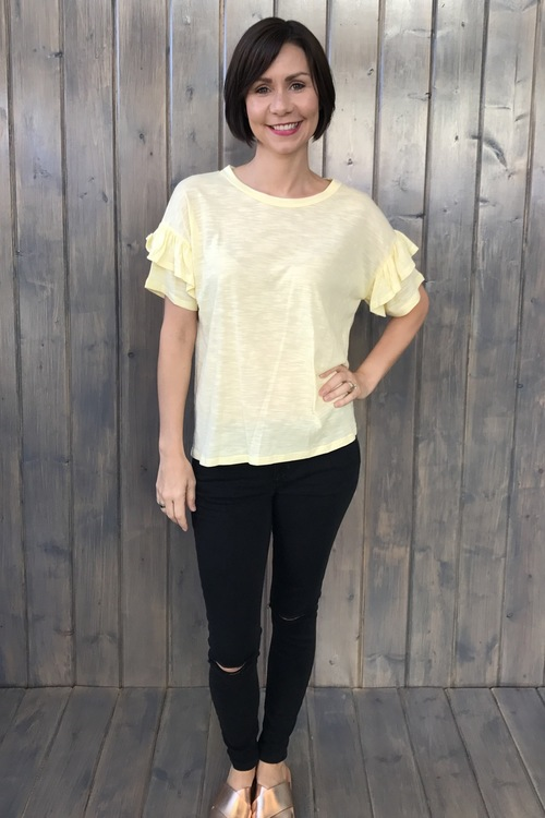 Ruffle Sleeve Sunburst Top