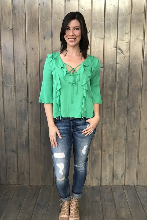 Abbey Bell Sleeve Top Green