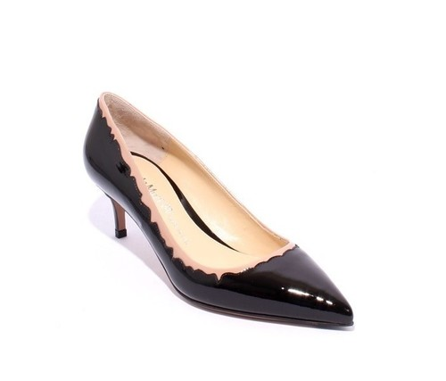 Black / Beige Patent Leather Pointy Pumps